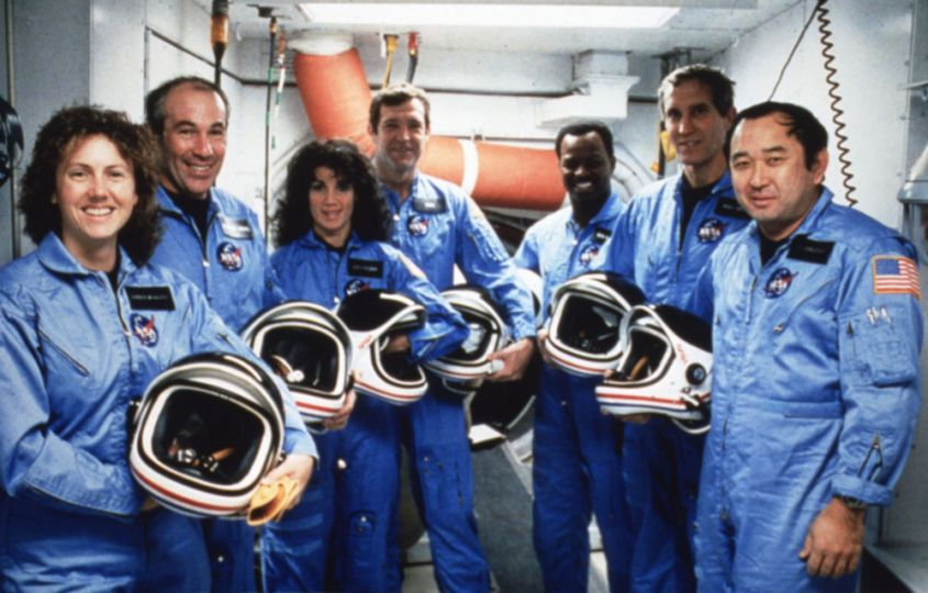 The Crew of the Challenger, January 8, 1986.  Photo12/UIG/Getty Images.  Soon after takeoff the Space Shuttle Challenger experienced a catastrophic failure eventually killing everyone on board.  Later that day, President Reagan delivered a national address which many consider to be one of the most significant speeches of the 20th Century.  http://www.nasa.gov/audience/formedia/speeches/reagan_challenger.html