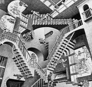 Relativity, by M. C. Escher.  Lithograph, 1953.  mcescher.com/gallery/back-in-holland/relativity.  Copyright © M. C. Escher.
