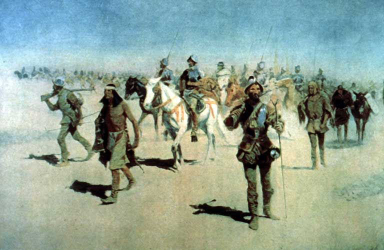 Coronado Sets Out to the North by Frederic Remington, circa 1890s.  At its peak, The Viceroyalty of New Spain reached from what is now southwest Canada all the way down to what is now the top of South America.  Other Spanish viceroyalties, comprising the larger Spanish empire, would eventually cover a large portion of the entire Western Hemisphere.  In the spring of 1541, Coronado's epic expedition would reach the heart of the Great Plains.  Although fated for catastrophe, the expedition would result in a rich set of discoveries.