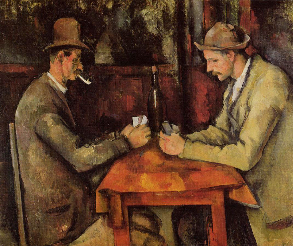The Card Players by  Paul Cézanne, circa 1894 - 1895.  In 2011, one of the five versions of the painting was sold to the royal family of Qatar for between $250 million and $320 million.  This makes it the most expensive work of art ever sold.