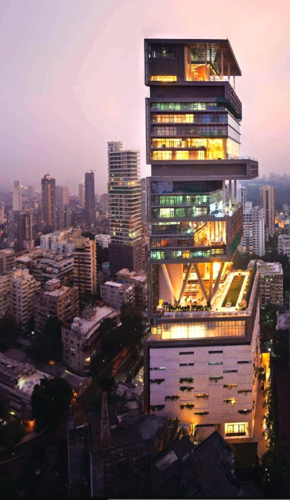Considered by many to be the most expensive private home on Earth, Antilia has an estimated value of $1 billion.  Located in Mumbai, India, it boasts 3 helipads, a dedicated air traffic control center, 600 permanent staff members, and 6 stories of private parking.