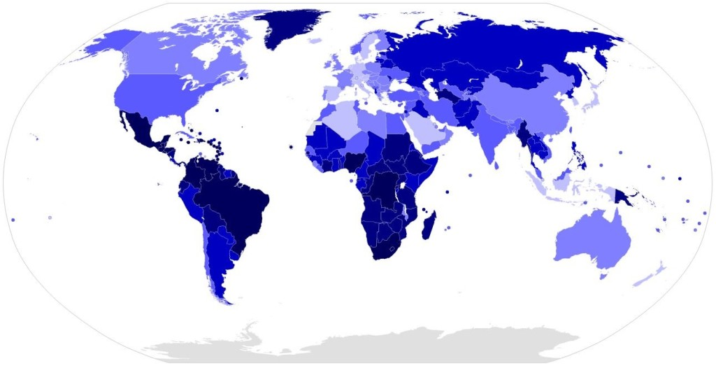 Homicide rate per 100,000 inhabitants in 2012. (Bluer indicates more homicides.) Map by Nikko2013, 2014. en.wikipedia.org/wiki/List_of_countries_by_intentional_homicide_rate