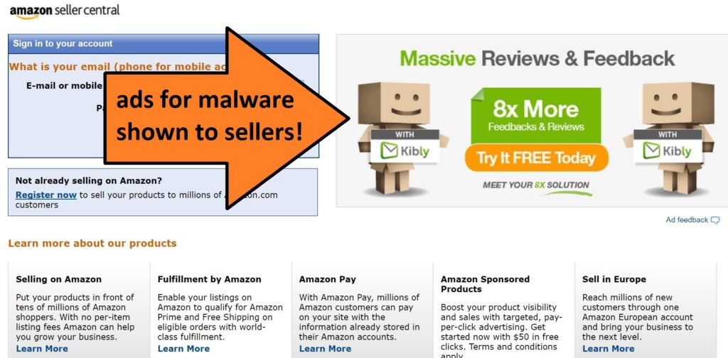 Amazon shows these ads for malware to the sellers.