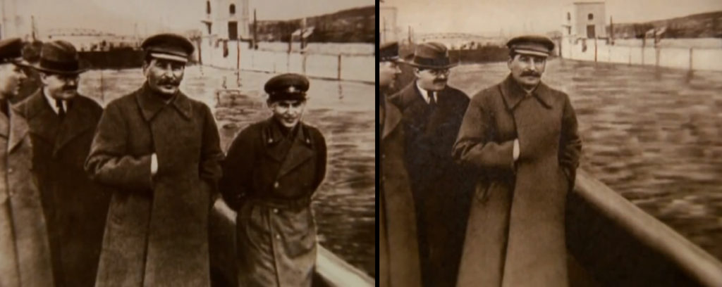 "The famous erasure of Nikolai Yezhov from official USSR memory. Later known as ""The Vanishing Commissar"", he was guilty of falling out of favor politically."