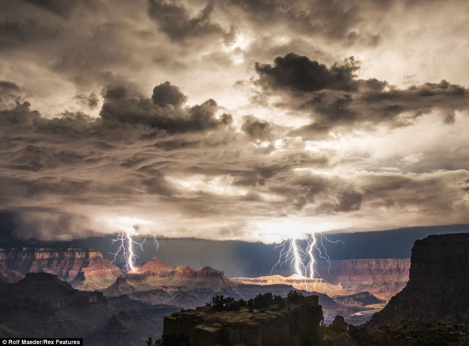 Lightning photographed at the Grand Canyon.  Copyright © Rolf Maeder / Rex Features.